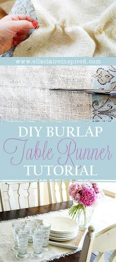 Easiest and most adorable #DIY Burlap Table Runner~ Just like the Pottery Barn version, but a fraction of the cost!