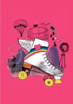 by nariasat #illustrations #artdirection #rainbowzoo #fashionillustration #skates #surrealistic