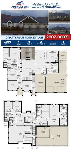 A spacious Craftsman home design, Plan 2802-00071 features 7,164 sq. ft., 7 bedrooms, 6 bathrooms, a guest room, two masters, an elevator, a kitchen island, an open floor plan, an exercise room, a formal living room, a home office, a mudroom, and a theater room. #craftsman #architecture #houseplans #housedesign #homedesign #homedesigns #architecturalplans #newconstruction #floorplans #dreamhome #dreamhouseplans #abhouseplans #besthouseplans #newhome #newhouse #homesweethome #buildingahome