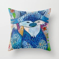 Throw pillow available as a cover only or with pillow insert included. The cover is hand sewn with a double-sided print of original artwork and