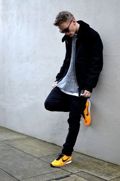 Good look, my new kind of style I want to implement, simple put, *Fresh* at its most ideal, /timefram= 2014+   bright shoes, match dark blues, gray/white undershirt,  summer/fall/winter look, a must add to my future attire, hmm