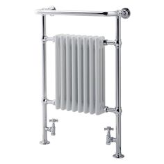 I  HATE  coming out of a shower and freezing. This may help.  A heated towel rack, heats bathroom and towel, cool!
