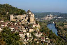 Chateau de Castelnaud and behind it, Chateau de Beynac, Perigord, France.
