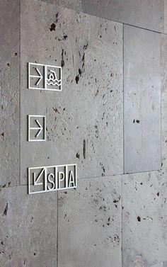 Design by Lavernia & Cienfuegos grafica design Design Wc, Design Stand, Hotel Signage, Office Signage, Signage Display, Signage Design, Environmental Graphic Design, Environmental Graphics, Wc Icon
