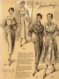Barbie Vintage, Vintage Fashion 1950s, Retro Fashion, Vintage Ladies, Vintage Dress Patterns, Clothing Patterns, Vintage Dresses, Vintage Outfits, Patron Vintage