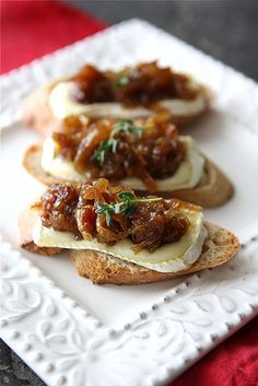 Brie, Caramelised onion (could you use Hanks onion jam?) sprig o'thyme, slice baguette. Mmmm
