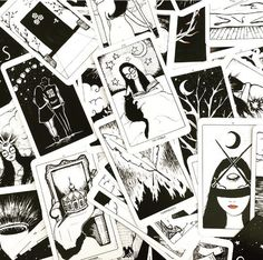 The origins of the Tarot are surrounded with myth and lore. The Tarot has been thought to come from places like India, Egypt, China and Morocco. Others say the Tarot was brought to us fr Tarot Astrology, Occult Symbols, Tarot Learning, Tarot Spreads, Italian Artist, Oracle Cards, Hand Illustration, Tarot Decks, Deck Of Cards