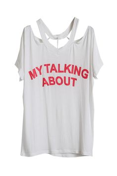 Cut-out Neck White T-shirt