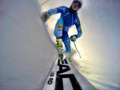 Gear the Ski Race Pros (Julia Mancuso) use:  Head race skis.  Head race boots.  Spyder Julia Mancuso race suit, POC Skull Orbic helmet and POC Retina Big goggles.