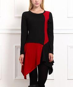 Look what I found on #zulily! Red & Black Handkerchief Tunic #zulilyfinds