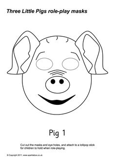 pig puppet template - three little pigs wolf mask craft pinterest wolves