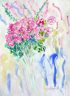 """Love you Forever,"" Watercolor commission wedding bouquet  Size: 30 x 20 by Andrea de Kerpely-Zak"