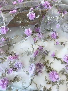 Lilac flower, green leaf fabric on organza lace, fabric for tutu, flower girl dress, bridal dress Violet Aesthetic, Lavender Aesthetic, Aesthetic Colors, Flower Aesthetic, Aesthetic Pastel, Pastel Purple, Shades Of Purple, Green And Purple, Periwinkle
