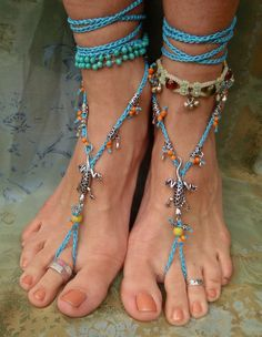 LIZARD BAREFOOT SANDALS with blue lace crochet silver by GPyoga