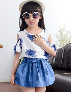 Girl's Blue / Green / Red Clothing Set,Floral Cotton Blend Summer