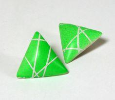 Clips triangles verts vintage 80s   lamerelipopette.com