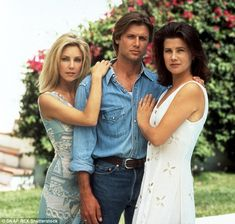 Primetime soap: Locklear is shown with Grant Show and Daphne Zuniga in a 1993…