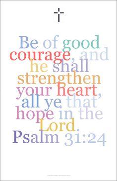 Bible Art Poster 34, Psalm 31:24,