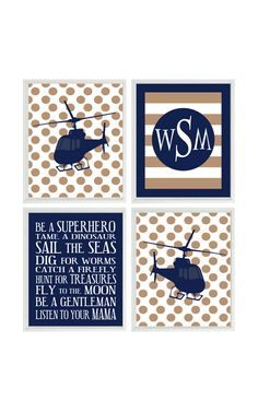 Helicopter Art Print Set  Boy Nursery  Navy Blue by RizzleandRugee, $50.00