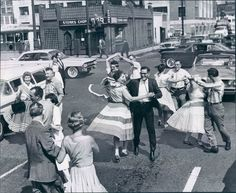 theniftyfifties: Dancing in the street, 1950s.