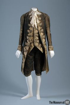 Man's suit   Medium: Dark green and beige striped velvet and silk embroidery   Date: c. 1785   Country: France