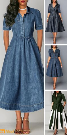 women dresses, tight dress online, with competitive price Tight Dresses, Simple Dresses, Casual Dresses, Short Dresses, 1950s Fashion Women, Mature Women Fashion, Artisanats Denim, Sweet Dress, African Fashion Dresses