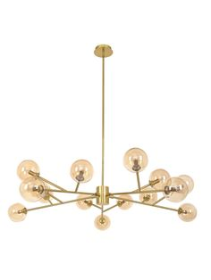 Orion 15 Light Pendant in Brass/Amber