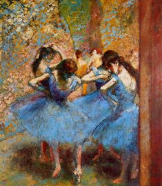 I've never been big on ballet art, but I've always loved Degas' work. The Athenaeum - Dancers in Blue (Edgar Degas - 1895)