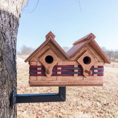 This deluxe, two unit Amish, handmade multi birdhouse is completely functional and will provide a. Wooden Bird Houses, Wooden Cottage, Bird Houses Diy, Building Bird Houses, Metal Shop Building, Bird House Plans, Bird House Kits, Birdhouse Designs, Birdhouse Ideas