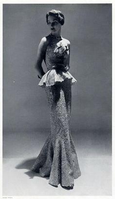 The original 'peplum': Balenciaga, 1955.  Luxe a Porter  www.luxeaporter.com