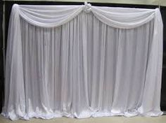 Simple Wedding Backdrop in Pure White Voile with Organza flower trims.