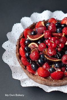 Tarta de fruta con crema pastelera de chocolate #sweets #desserts #tart