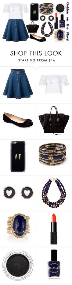 """""""Golden on the Navy"""" by the-fashiondesigner ❤ liked on Polyvore featuring Topshop, Machi, CÉLINE, Casetify, Amrita Singh, Brooks Brothers, Kenneth Jay Lane, Jacquie Aiche, NARS Cosmetics and Clarins"""