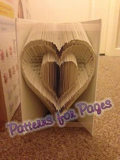 Book folding pattern for a HEART INSIDE A HEART by PatternsForPages. Folded books CAN be sold.