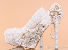 Wholesale Women Wedding Shoes 2015 High Heels Crystals Rhinestone Shoes White Bridal Shoes Pearls Peep Toe 10 12 14 CM Party Prom Wedding Occasion Hot, Free shipping, $131.93/Piece | DHgate Mobile