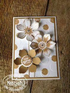 Stampin' Up! Beautiful Bunch stamp set, Startburst Sayings stamp set, Polka Dot embossingfolder and Fun Flower punch By Atelier Negen