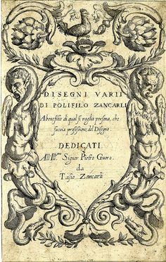 Titleplate with surround of grotesques (1600-25) (by Fialetti after Giancarli), via Flickr.