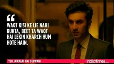12 Times Ranbir-Deepika's 'Yeh Jawaani Hai Deewani' Proved That It Understood Our Generation Perfectly! Lyric Quotes, Movie Quotes, True Quotes, Best Quotes, Lyrics, Hindi Quotes On Life, People Quotes, Famous Dialogues, Movie Dialogues