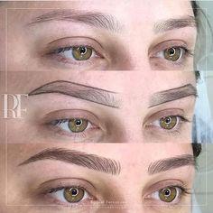 Microblading 👏🏽 - Eye Makeup tips Mircoblading Eyebrows, Eyebrows Goals, How To Draw Eyebrows, Permanent Makeup Eyebrows, Threading Eyebrows, Eyebrow Makeup, Best Eyebrow Powder, Phi Brows, Eyebrow Shaper