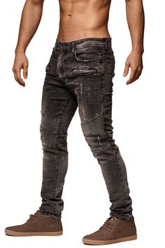 F&S Men Slim Fit Denim Temp Biker Distressed Jeans - Washed Black