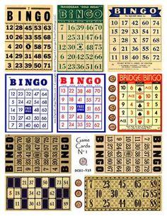 Bingo Collage Sheet Mixed Media Collage Images Bingo Cards  DCS-535 DigitalCollageSheets, Printables, Downloads. $3.95, via Etsy.