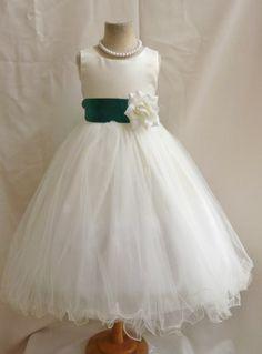 Flower Girl Dress IVORY/Green Hunter FL Wedding Children Easter Bridesmaid Communion Green kelly Hunter Gold Fuchsia Dus