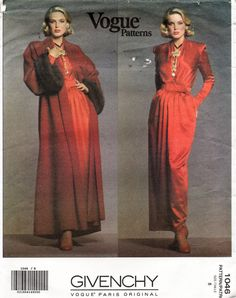 1046 Vogue Sewing Pattern GIVENCHY Paris Original Misses' Coat Elegant Gown Dress with Belt Size 8 Hard to Find Uncut Factory Folded 1992 by NASGalleria on Etsy