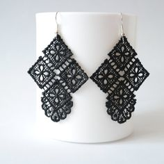 Lace earring/ black earring/handmade earring/ handmade lace jewelry on Etsy, $18.00