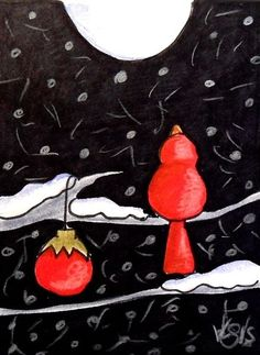 "Aceo  Original  ATC OOAK    ""CHRISTMAS RED""   pencil/ink  #OutsiderArt"