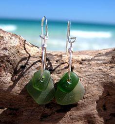 Hawaiian Rare Olive Green Beach Glass Beach Glass on Silver Plated Circular Wire Very Small Hoop Earrings by LindseysBeachGlass, $29.00