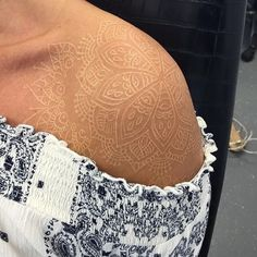 Paisley Shoulder Tattoos, Lace Shoulder Tattoo, Shoulder Tats, Soft Tattoo, Lace Tattoo, Delicate Tattoos For Women, Sleeve Tattoos For Women, Brown Tattoo Ink, Brown Tattoos