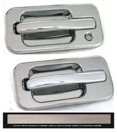 All Sales Brush Chrome LH w/Lock hole & RH w/o Lock - It's time to lose the unsightly plastic door handle that come factory with your truck, and replace it with our solid billet assembly. These heavy duty brutes are not the imitation stick on overlays, these handles add security and style to your vehicle. Crafted here in the USA. Available finish options: polished chrome or brushed chrome.Fits: Hummer 03-08 H2. Automotive. Weight: 3.00