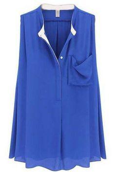 Blue Sleeveless Pockets Ruffles Chiffon Blouse - Sheinside.com