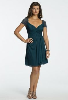 Short Mesh Dress with Lace Sleeves from Camille La Vie and Group USA